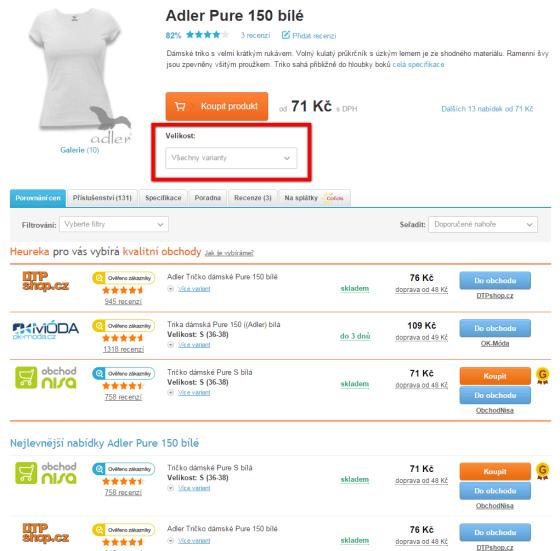 Detail produktu bez filtru – Produkt nabízí celkem 12 obchodů.
