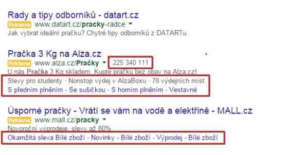 Zobrazení sitelinků na Google.com