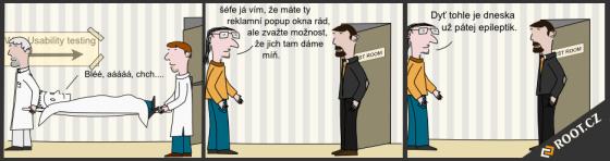 Kreslený vtip s Pop Up okny.