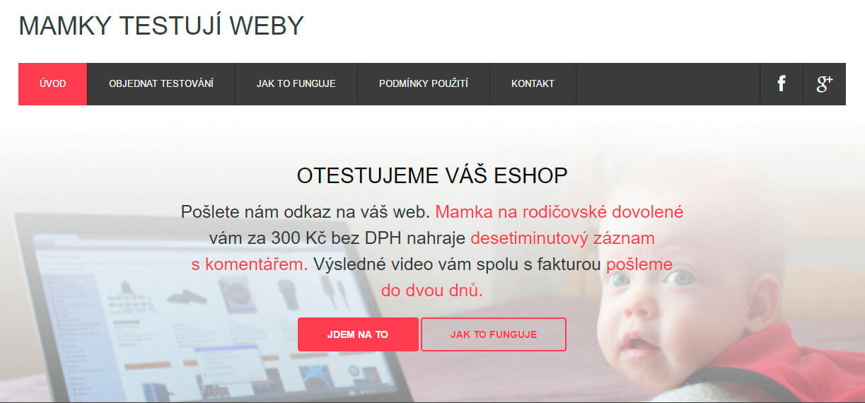 Screeen webu www.mamky.testujiweby.cz