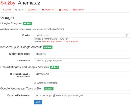 Možnosti nastavení služeb Googlu na Affilo shopu.