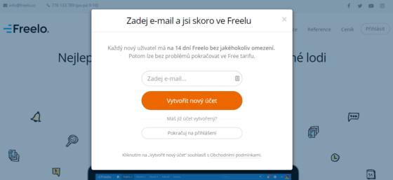Screen obrazovky - Registrace do Freelo