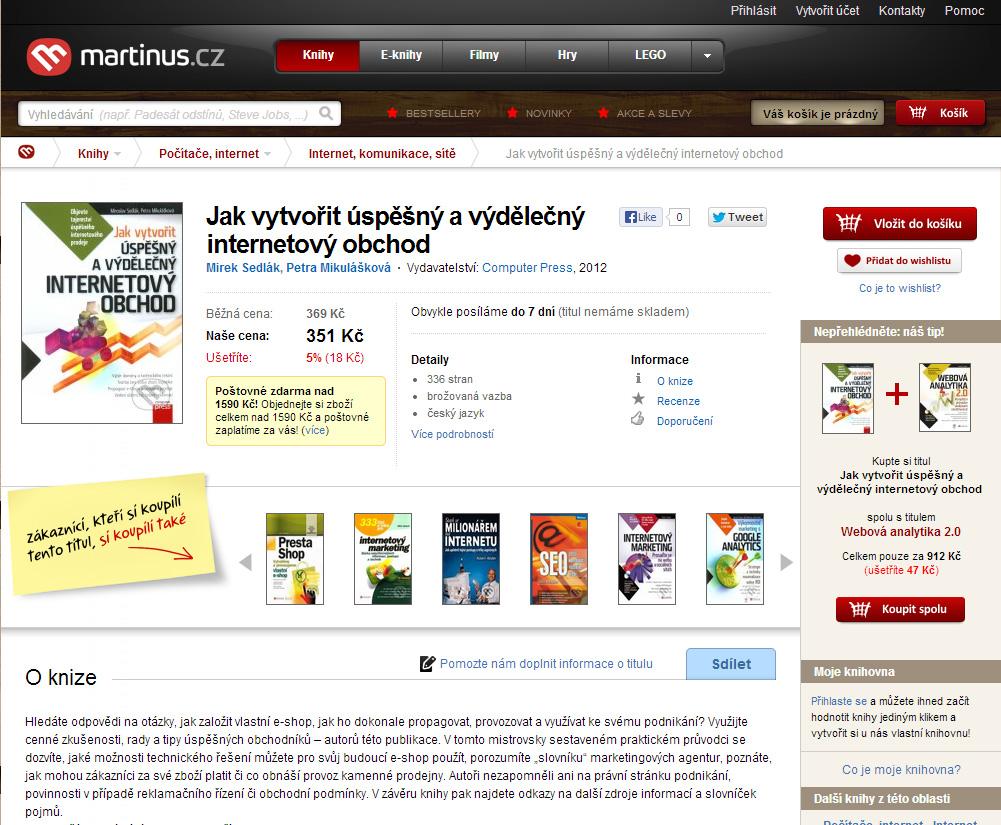 Otisk obrazovky e-shopu www.martinus.sk