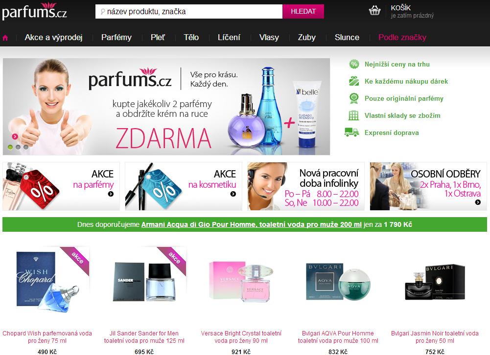 Snímek obrazovky e-shopu www.parfums.cz