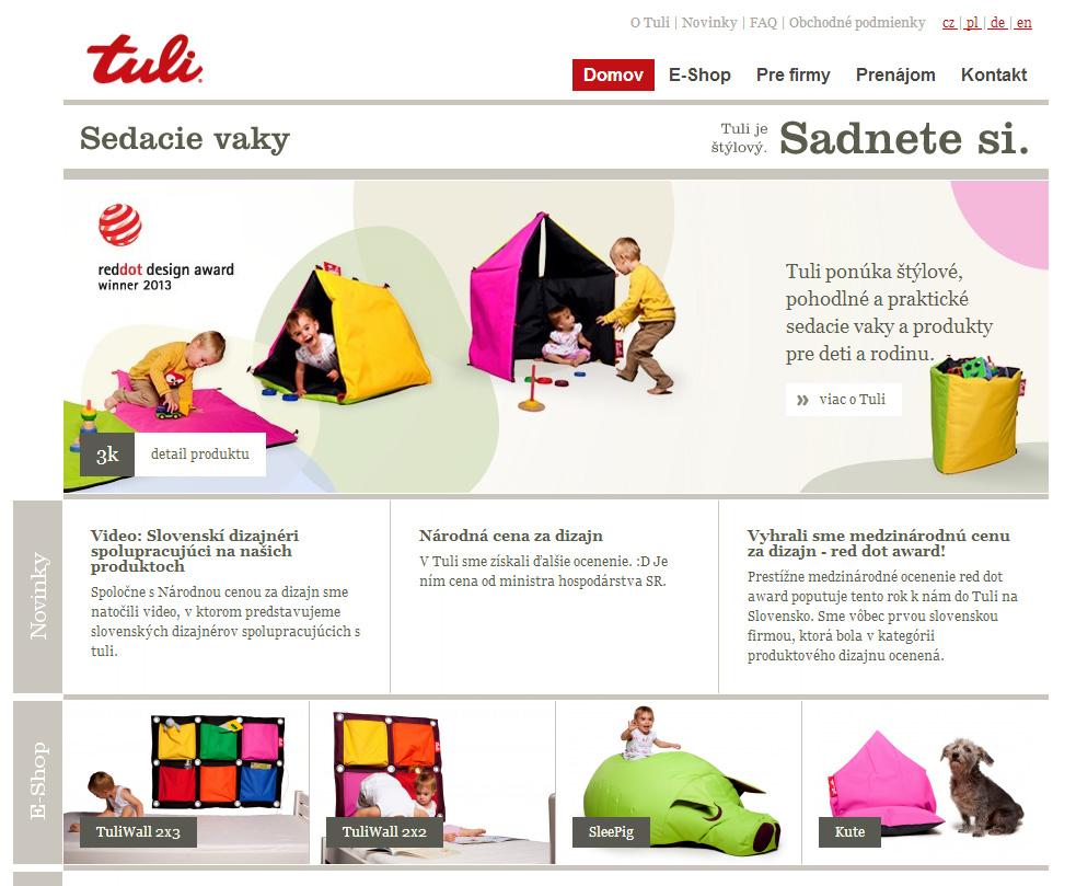 Otisk obrazovky eshopu www.tuli.sk
