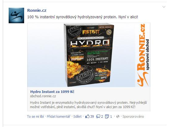Ukázka sponzorovaného příspěvku na Facebboku