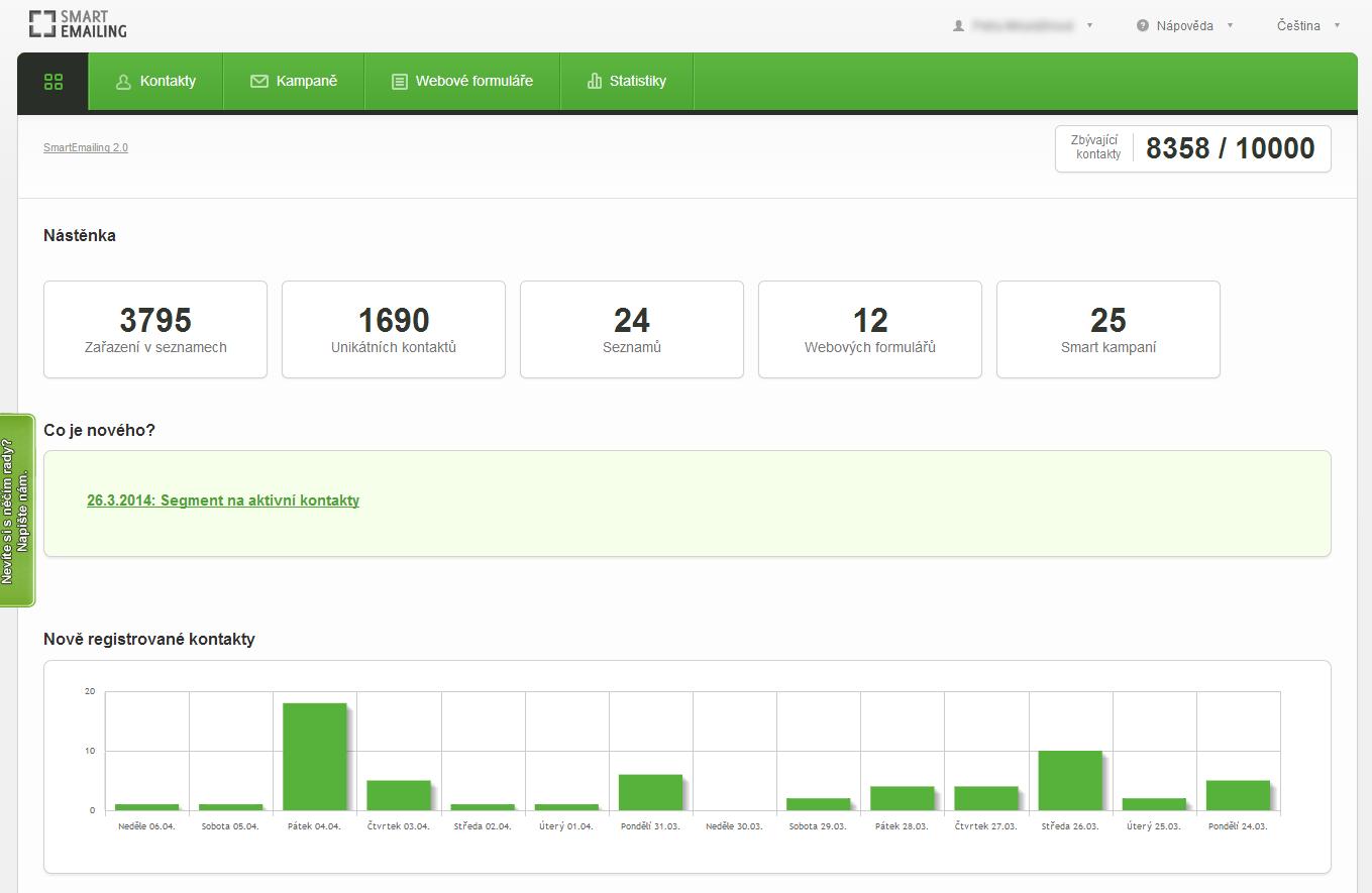 Screen obrazovky aplikace Smartemailing