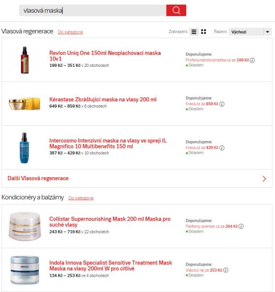 Kategorizované výsledky hledání - pro dotaz vlasová maska jsou na obrázku vidět různé produkty ze 2 kategorií.