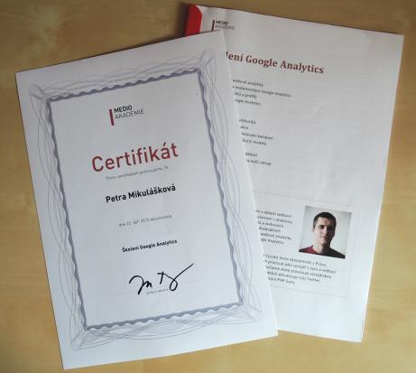 Certifikát a materiály ze Školení Google Analytics od Honzy Tichého z Medio Interactiv