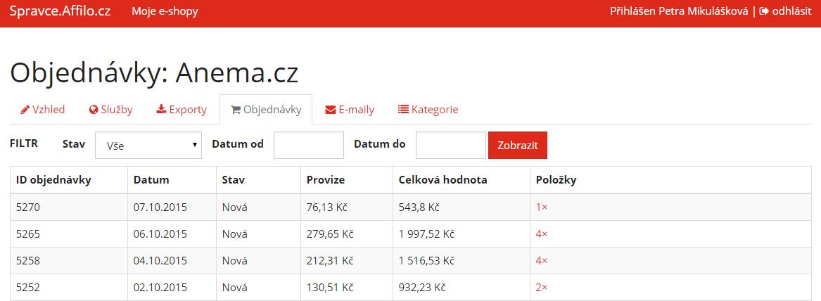 Administrace provizního systému Affilo.cz