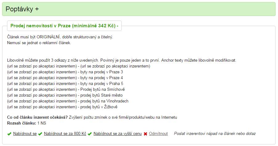 Ukázka části administrace systému Placla.cz se zobrazením poptávky.