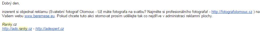 Email s informací, že zákazník neprodloužil inzerci na webu v systému Ranky.cz