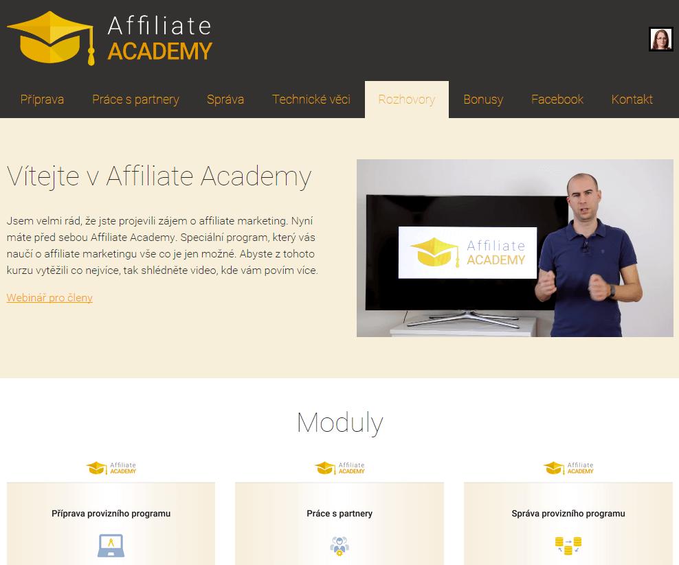 Snímek obrazovky z online kurzu Affiliateacademy.cz