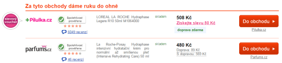 Screen webu www.srovname.cz s nabídkou dvou položek a ukázkou ikony pro možnost využití slevového kuponu.