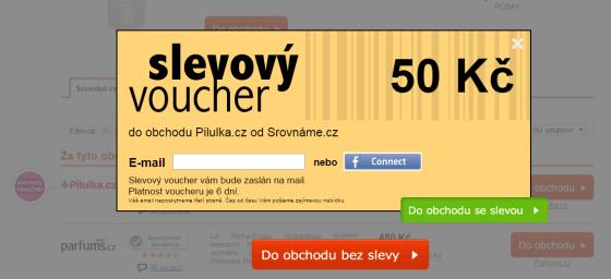 Ukázka POP UP okna se slevovým kuponem na www.srovname.cz