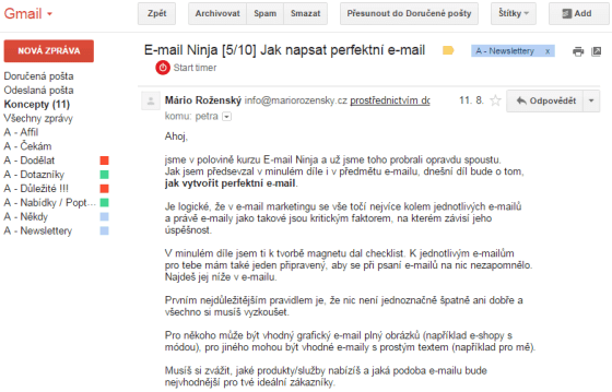 Screen obrazovky Gmailu s částí kurzu E-mail Ninja