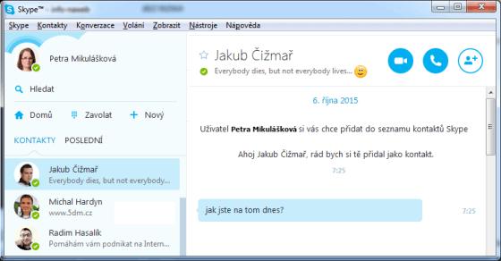 Screen aplikace Skype.com