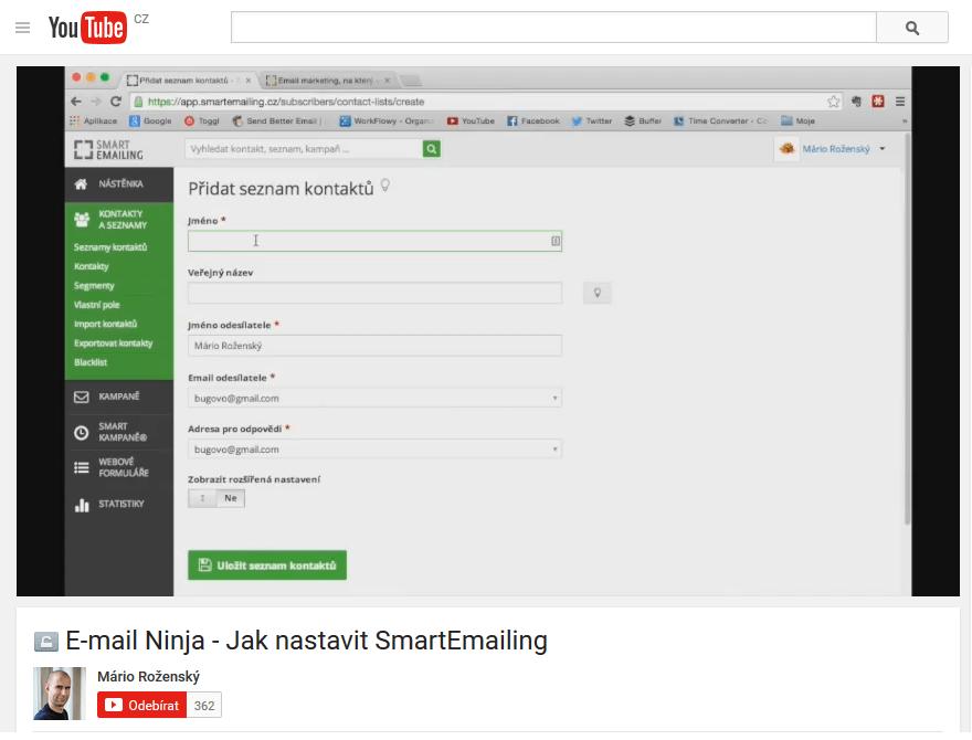 Screen obrazovky na Youtube.com kde je vidět nastavení aplikace Smartemailing