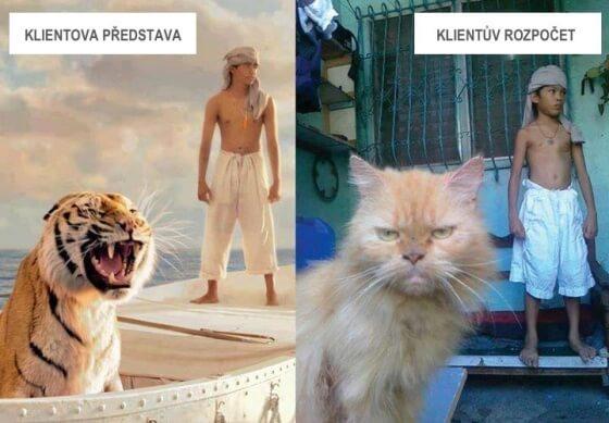 Vlevo tygr a človíček na lodi. Vpravo kočka s človíčkem u dveří.