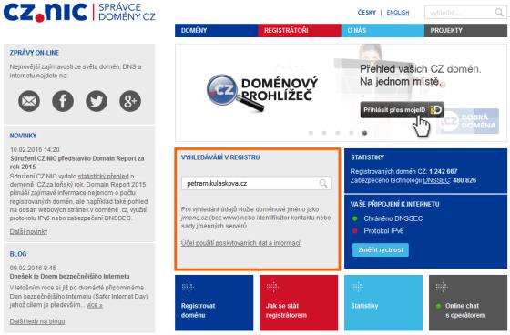 Zadání domény na nic.cz pro ověření jejího statusu.
