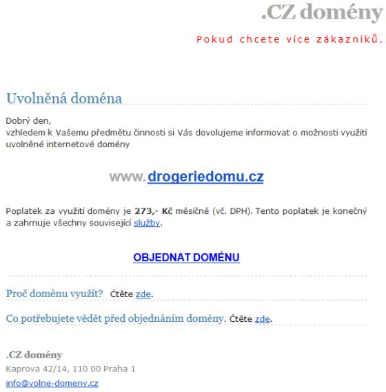 Jedna z nabídek na pronájem domény, co se mi objevila v e-mailu.