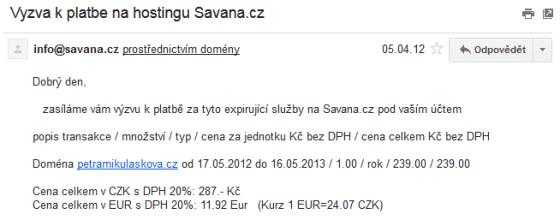 Výzva k platbě za doménu pro můj web petramikulaskova.cz na další rok.