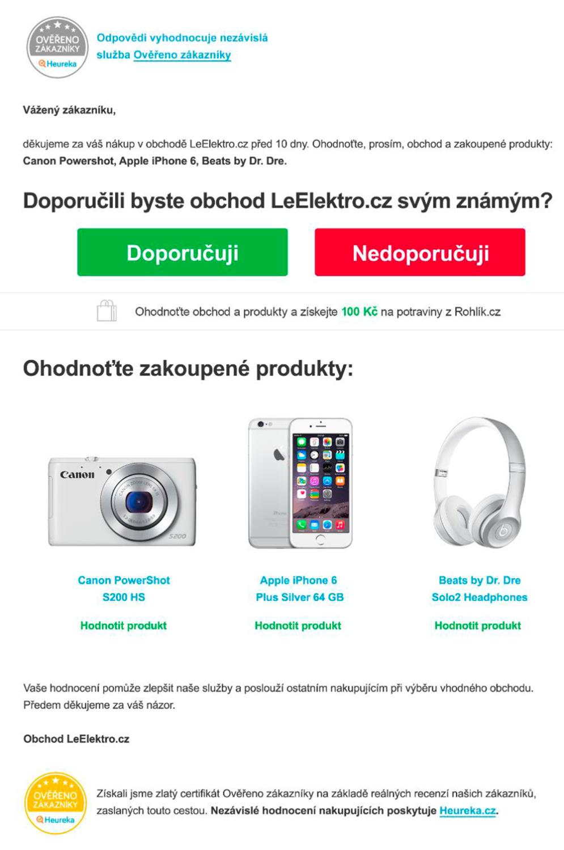Ukázka dotazníku z Heureky.cz