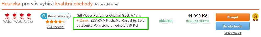 Ukázka použití elementu GIFT na Heureka.cz