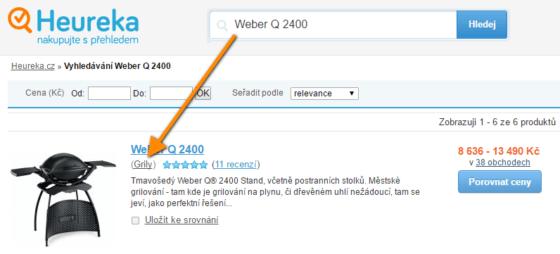 Screenshot webu Heureka - jak vybrat kategorii do elementu CATEGORYTEXT