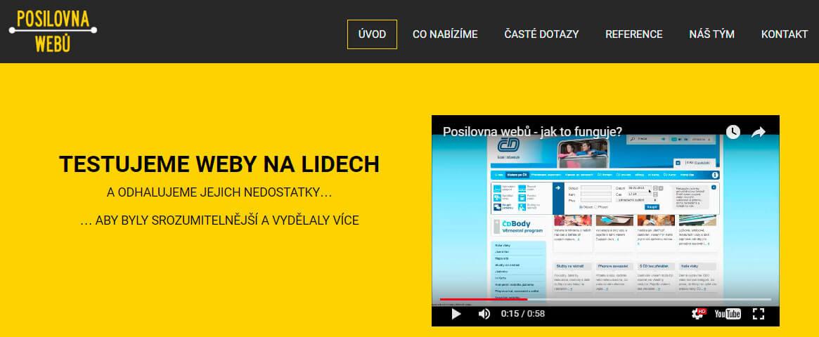 Screen webu Posilovnawebu.cz