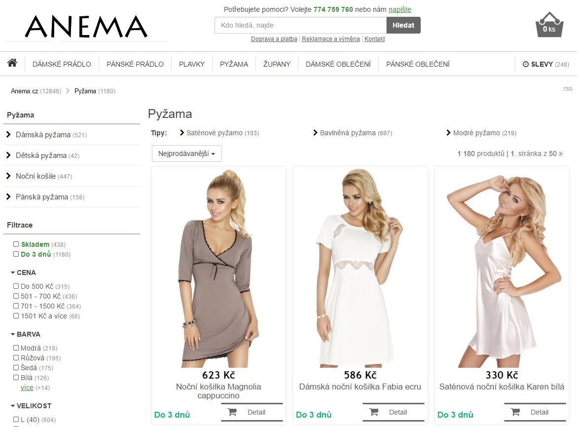 Típnutá obrazovka e-shopu Anema.cz