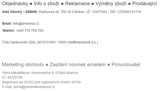 Uvedení kontaktů na prodávajícího a správce v Affilo shopu.