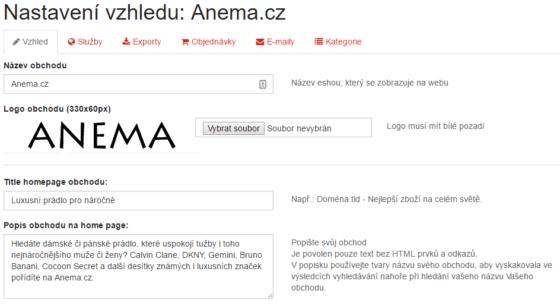 Nastavení e-shopu ve správci AffiloShopu.