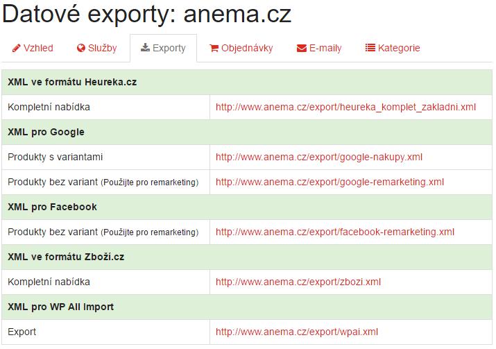 Přehled možných datových exportů v Affilo shopech.
