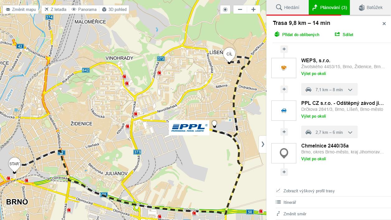 Mapa se zobrazením tří míst.