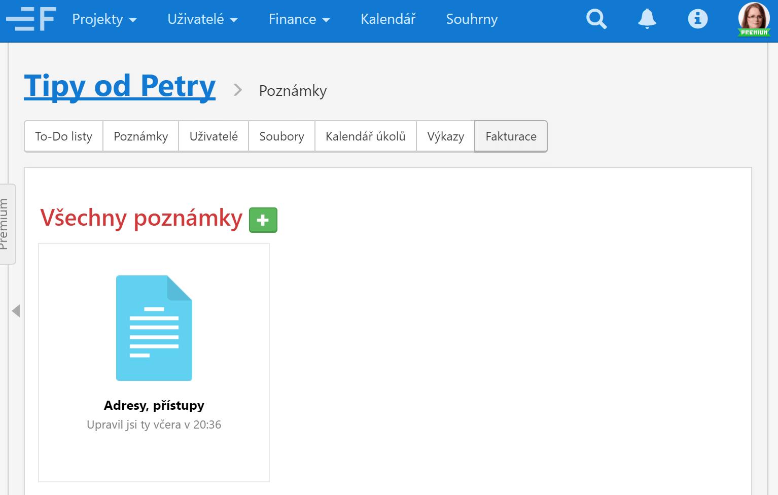 Screen poznámky ve Freelo.cz