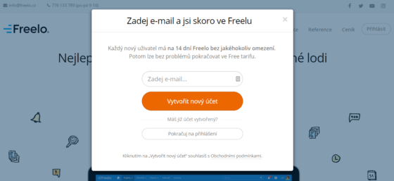 Screen obrazovky - Registrace do Freelo