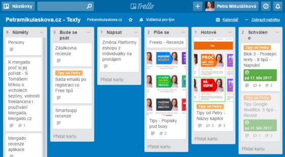 Screen projektu z aplikace Trello.com